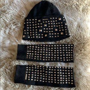Michael Kors Studded Beanie and Half gloves